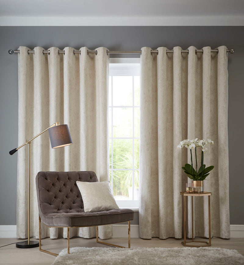 Clarke & Clarke velvet 'Navara' Designer ready made Curtains in Oyster & Muted Gold - Your 4 Walls