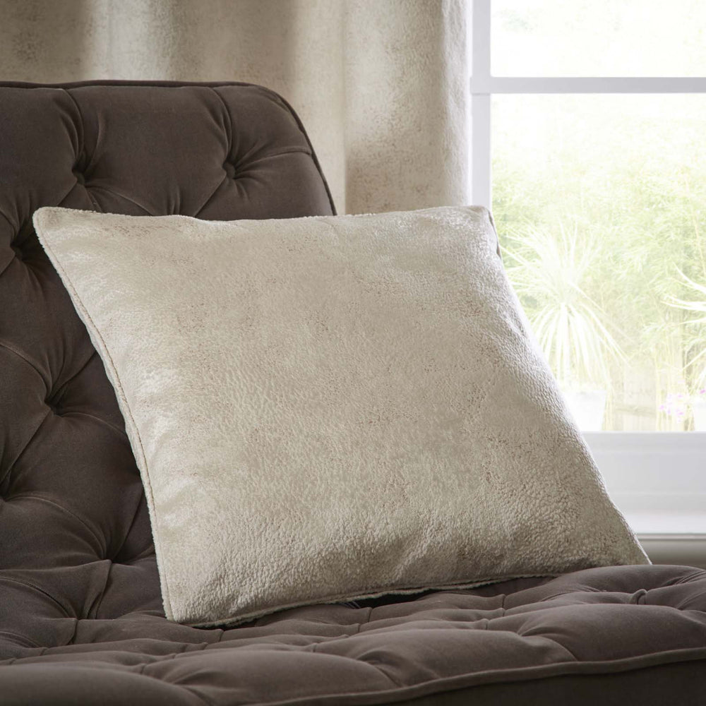 Clarke & Clarke Designer 'Navara' Cushion | Oyster & Muted Gold Textured Velvet - Your 4 Walls