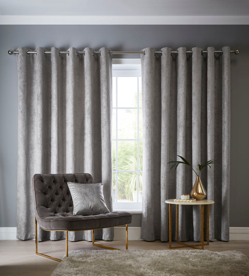 Clarke & Clarke velvet 'Navara' Designer ready made Curtains in Silver - Your 4 Walls