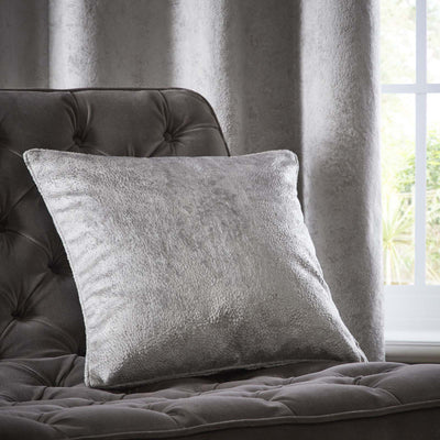 Clarke & Clarke Designer 'Navara' Cushion | Silver Textured Velvet - Your 4 Walls
