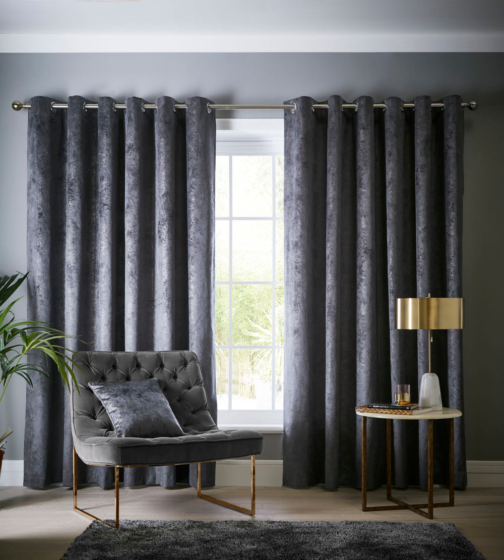 Clarke & Clarke 'Navara' Designer Curtains | Slate Grey Textured Velvet - Your 4 Walls