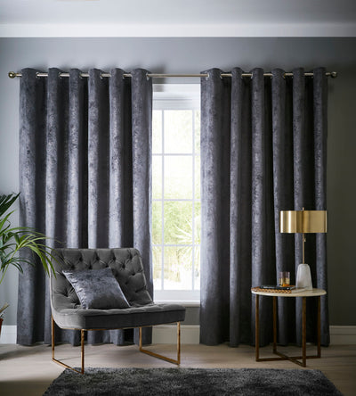 Clarke & Clarke velvet 'Navara' Designer ready made Curtains in Slate Grey Textured Velvet - Your 4 Walls