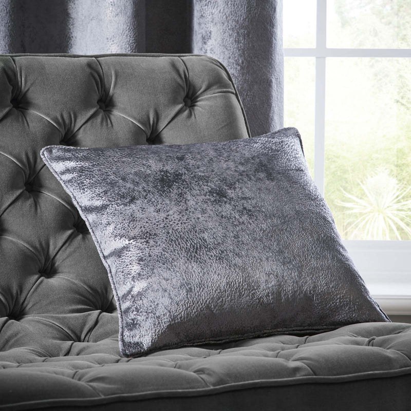 Clarke & Clarke Designer 'Navara' Cushion | Slate Grey Textured Velvet - Your 4 Walls