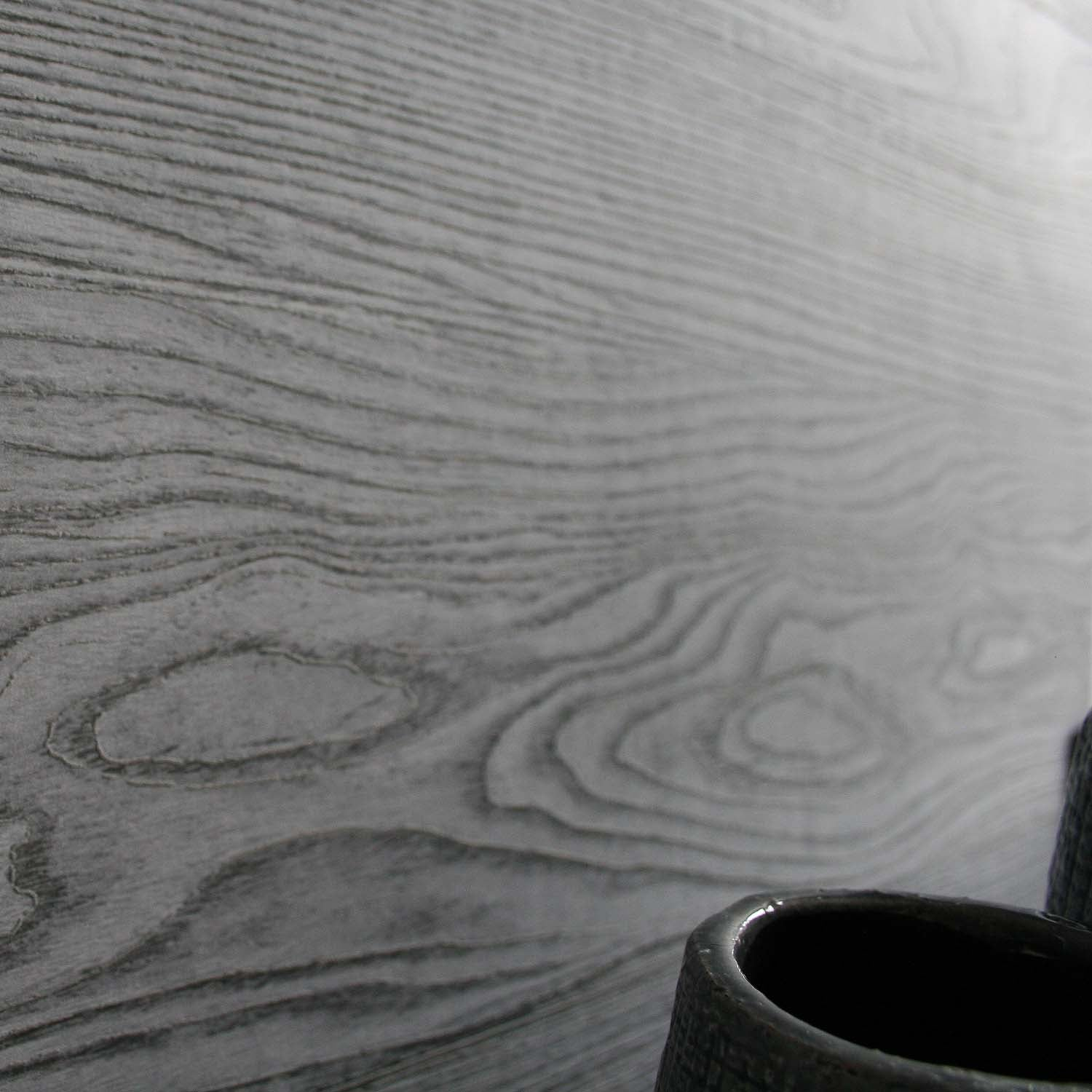 Wide plank Wood Painted Effect Wallpaper | Grey