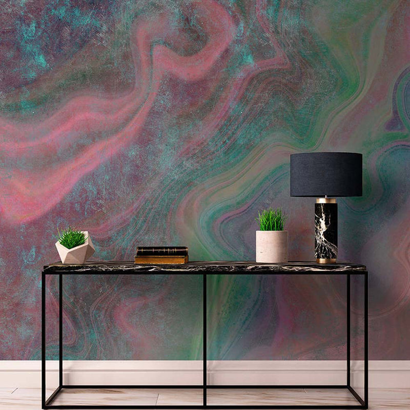 Northern Lights Wallpaper Mural in Pink, Green & Black - Your 4 Walls