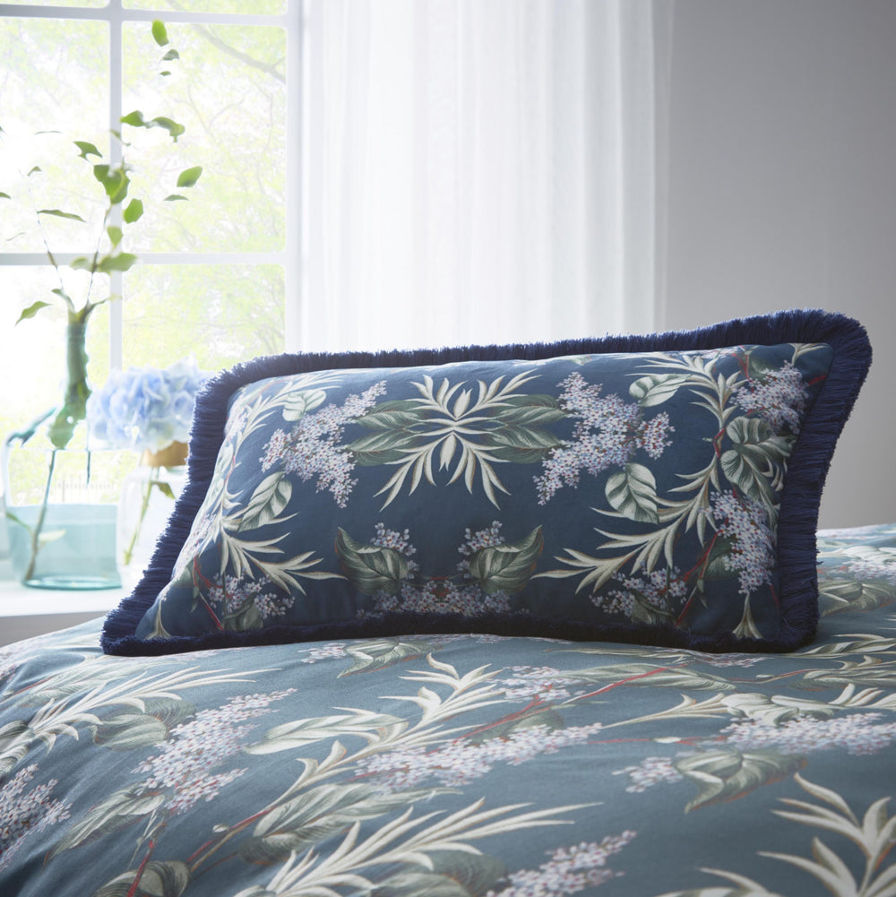 Oasis Designer 'Aloha' Floral Cushion in White, Green & Blue - Your 4 Walls