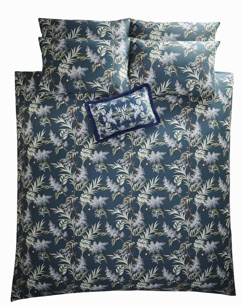 Oasis 'Aloha' Designer Floral Bedding Duvet Set in White, Blue & Green - Your 4 Walls