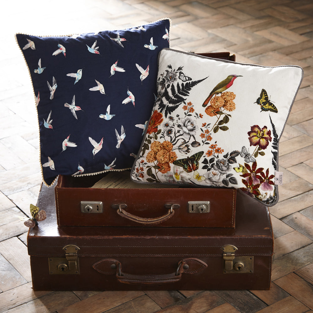 Oasis Designer 'Hummingbird' Bird Cushion in White & Blue - Your 4 Walls