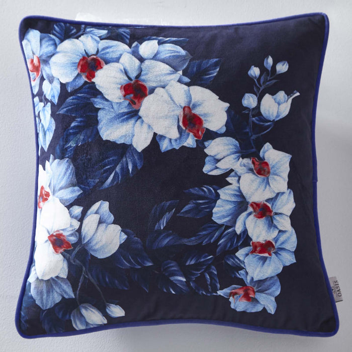 Oasis Designer 'Exotic' Floral Cushion | White, Blue & Red
