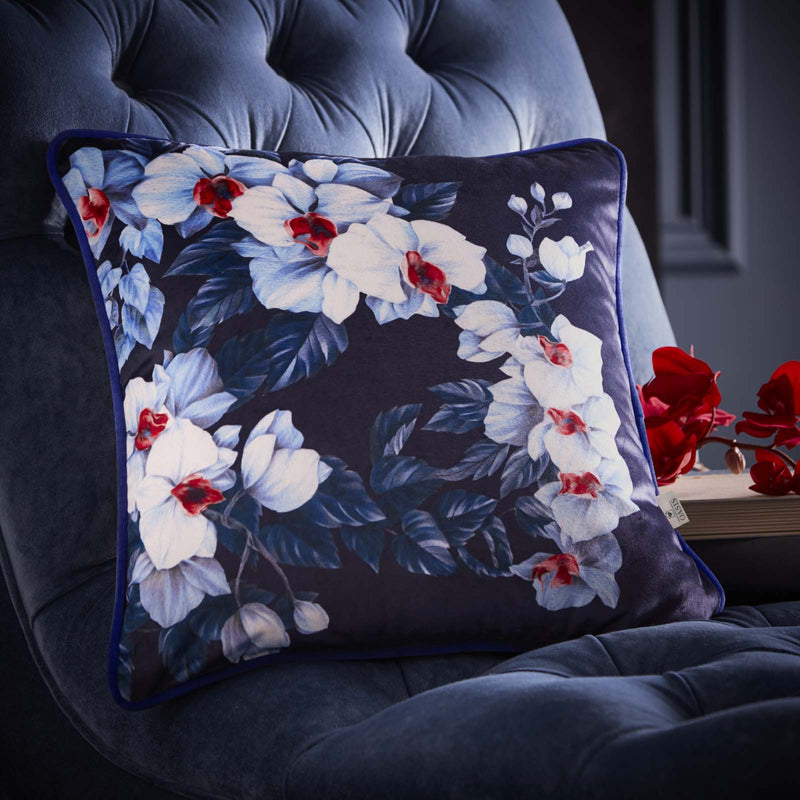 Oasis Designer 'Exotic' Floral Cushion | White, Blue & Red - Your 4 Walls