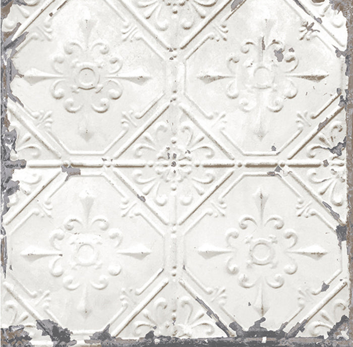 Chelsea Tin Tile Effect Wallpaper | White  & Metallic Silver