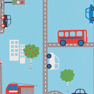 LAST ROLL Beep Beep, Buses & Car Childrens Wallpaper | Red, Blue & White - Your 4 Walls