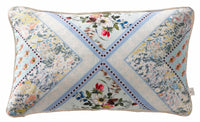 Oasis Designer 'Patchwork Boudoir' Floral Cushion | Seafoam Blue/Green, White & Yellow - Your 4 Walls
