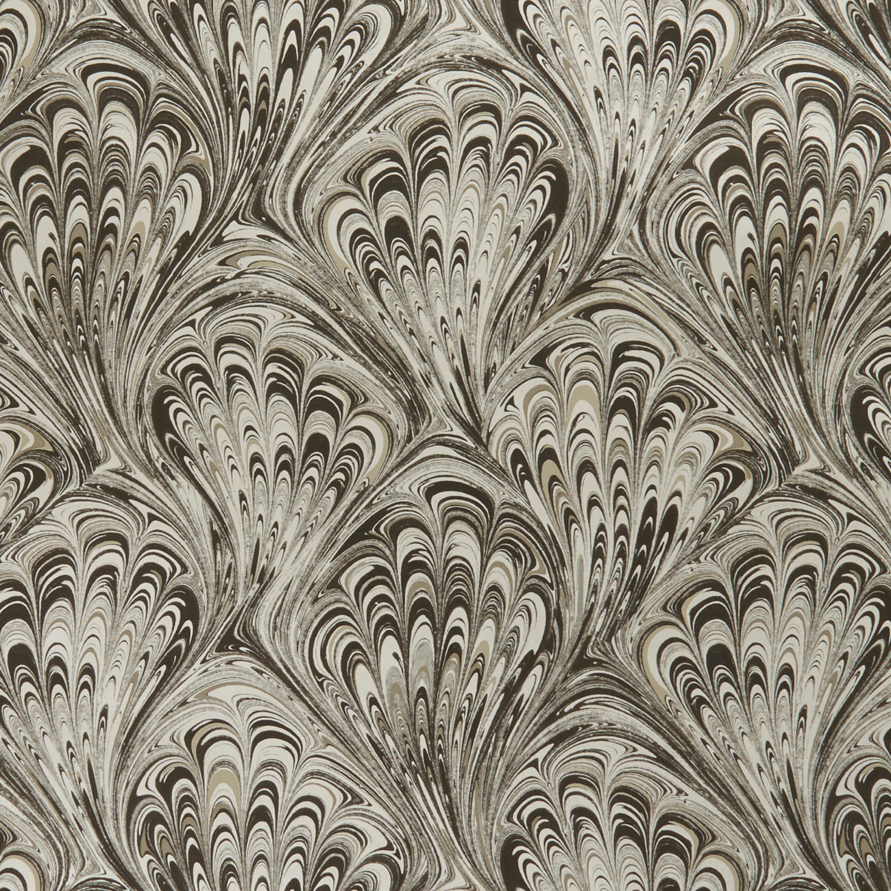 Pavone Peacock Inspired Designer Wallpaper  | Motif in Charcoal & Gold