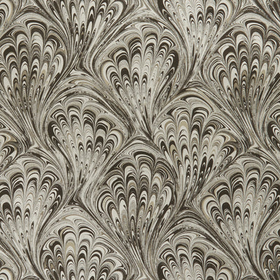 Pavone Peacock Inspired Designer Wallpaper  | Motif in Charcoal & Gold - Your 4 Walls