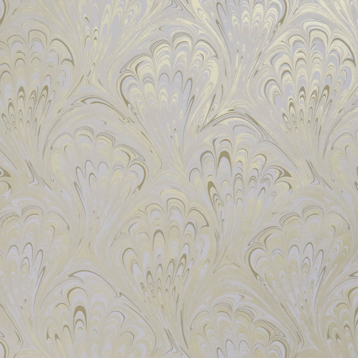 Pavone Peacock Inspired Designer Wallpaper  | Motif in Ivory & Gold