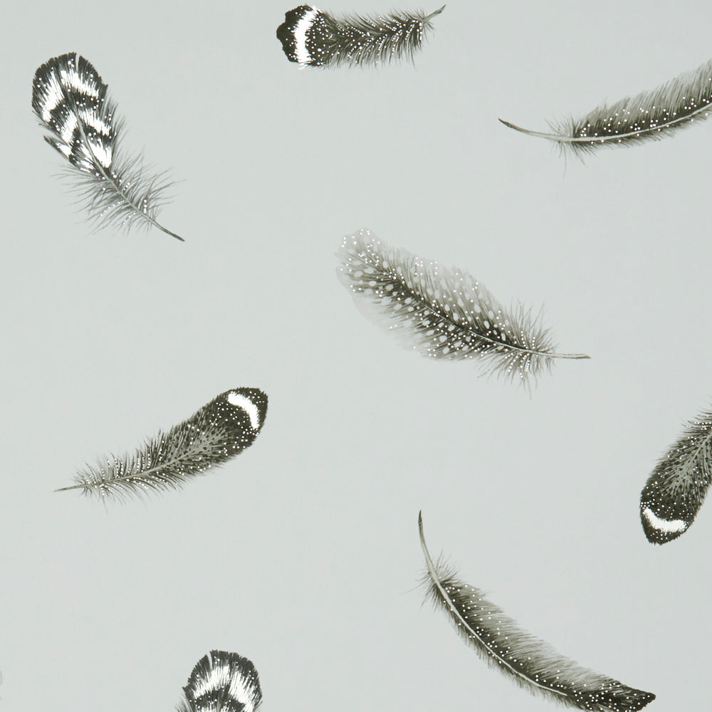 Plumis Feather | Designer Motif Wallpaper in Grey, Black & Gold/Silver - Your 4 Walls