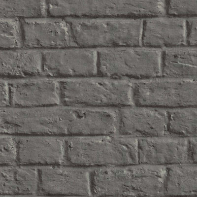 Painted Brick Wall | Charcoal Brick Effect Wallpaper - Your 4 Walls
