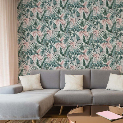 Banana and Palm Leaf Design Wallpaper in Green, Grey & Pink - Your 4 Walls