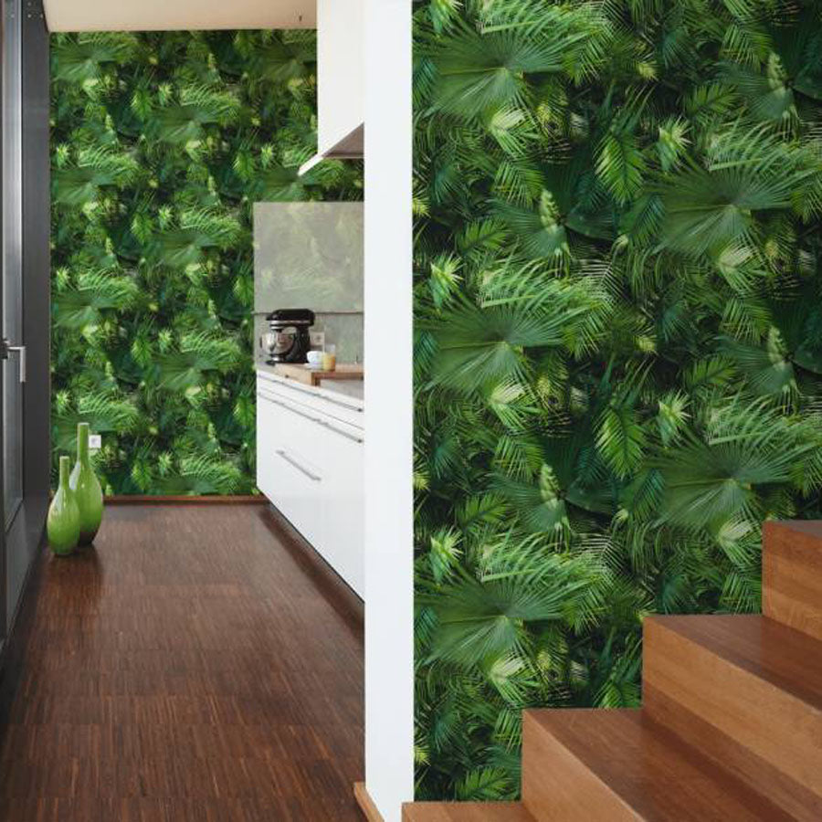 Large Print Palm Leaf Effect Wallpaper | Green - Your 4 Walls