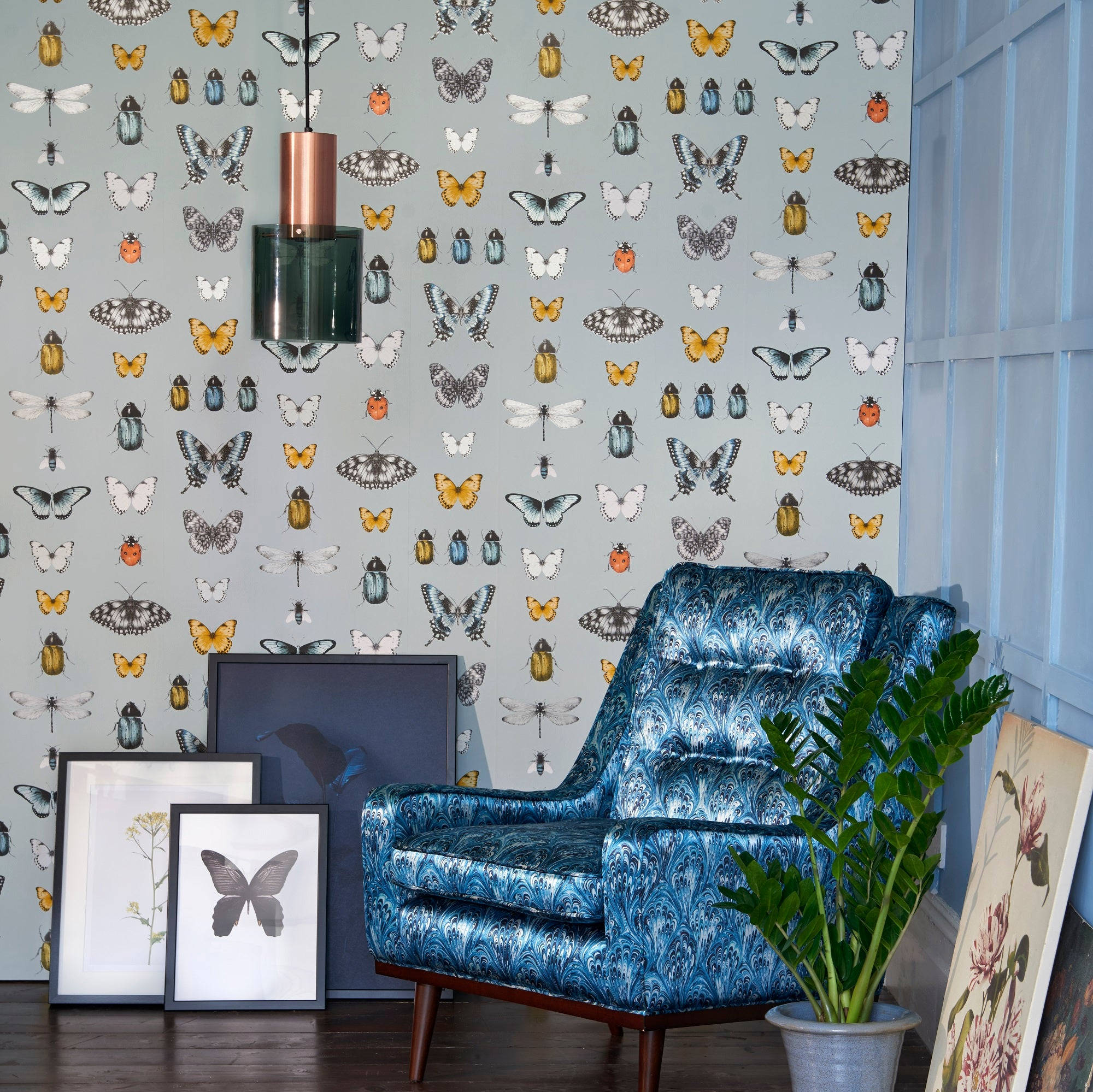 Papilio Traditional Insects & Butterflies  | Designer Motif Wallpaper in Teal & Gold/Silver