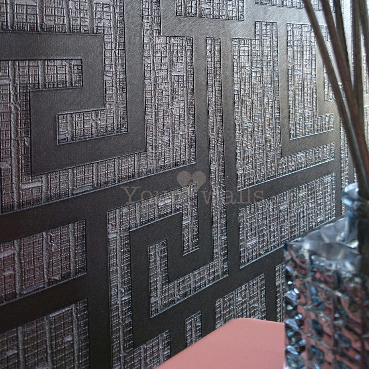 Versace 'Parvus Greek Key' Designer textured Geometric Wallpaper in Black
