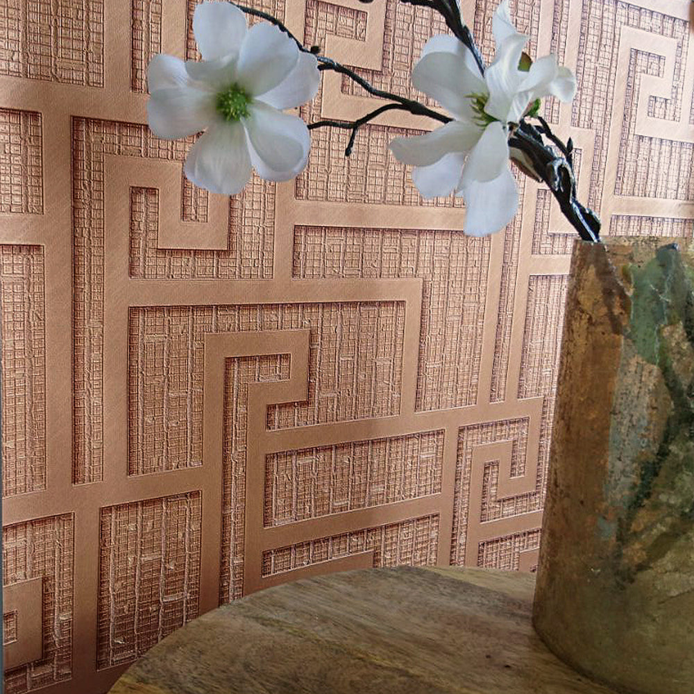 Versace 'Parvus Greek Key' Designer textured Geometric Wallpaper in Copper/Rust - Your 4 Walls