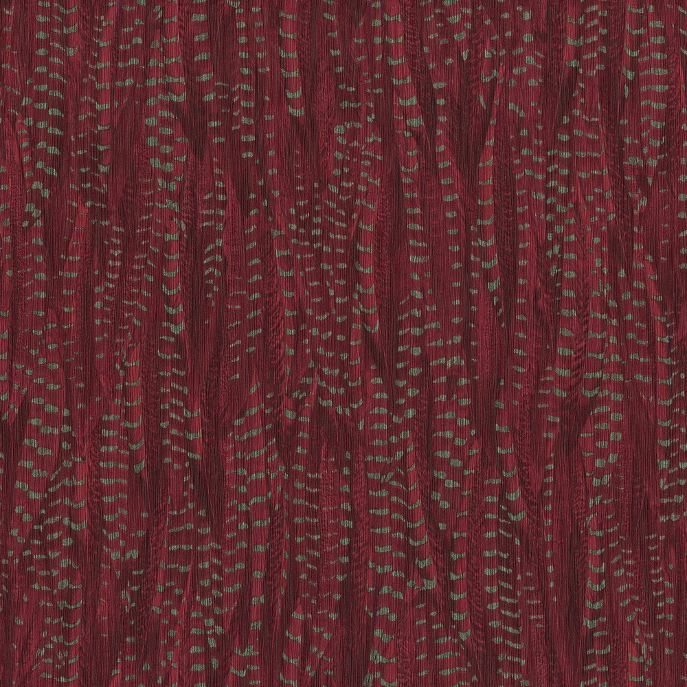 Pheasant Feather Animal Motif Wallpaper in Deep Red with Silvery Green - Your 4 Walls