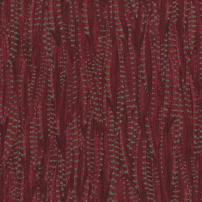 Pheasant Feather Animal Motif Wallpaper in Deep Red with Silvery Green
