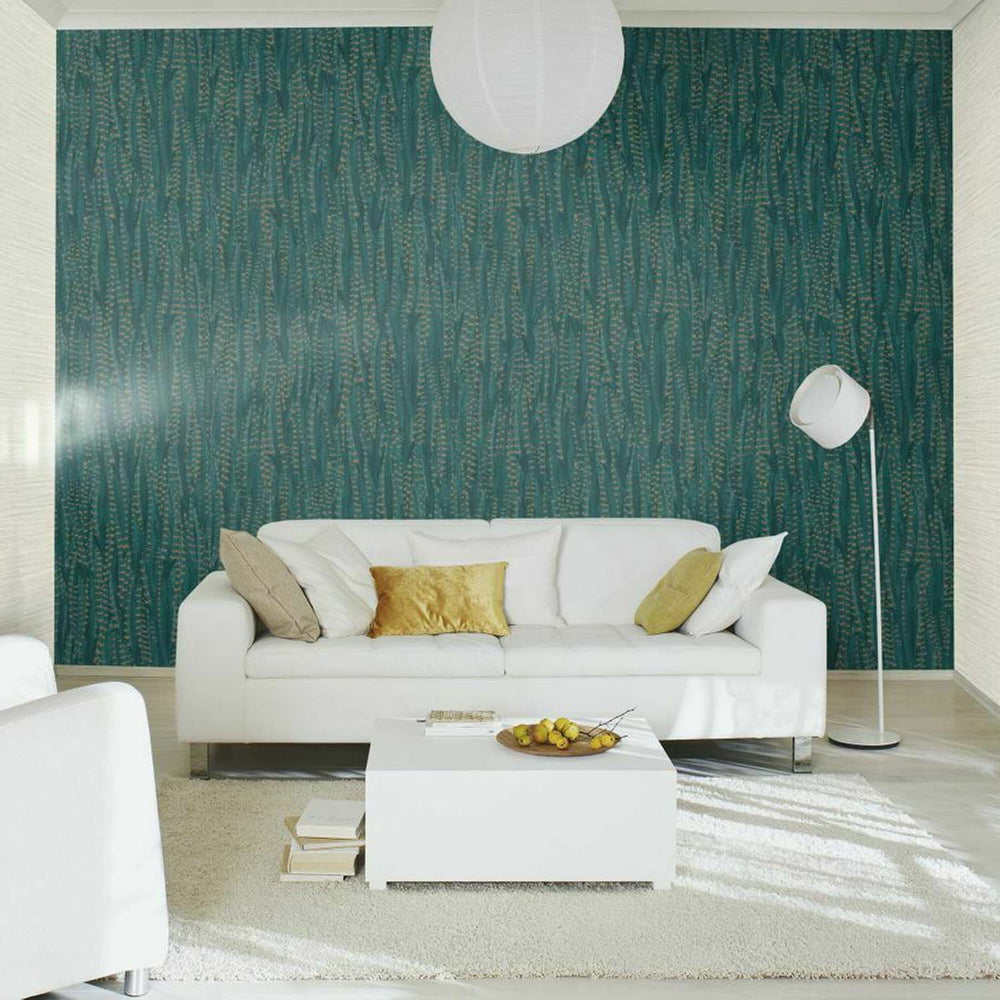 Pheasant Feather Animal Motif Wallpaper in Teal Green with Gold - Your 4 Walls