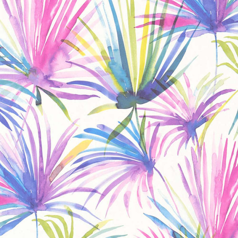 Watercolour Palm Tree Design Wallpaper | Violet, Pink, Blue & White