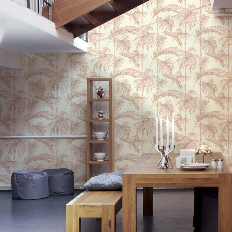 Bamboo Leaf Wallpaper in Pink, Gold and Off White - Your 4 Walls