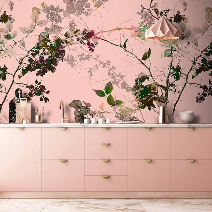 Tranquil Wallpaper Mural in Pink, White & Black