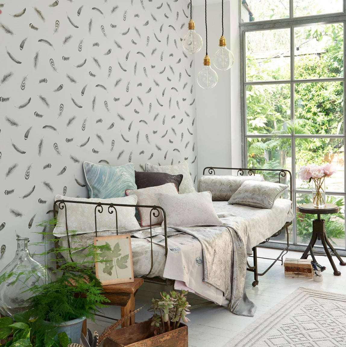 Plumis Feather | Designer Motif Wallpaper in Grey, Black & Gold/Silver