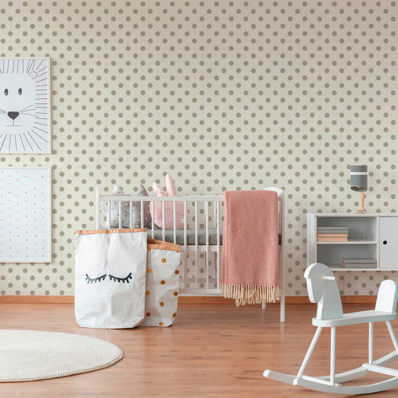Textured Small Polka Dots/Spots Wallpaper Khaki Grey & Off White - Your 4 Walls