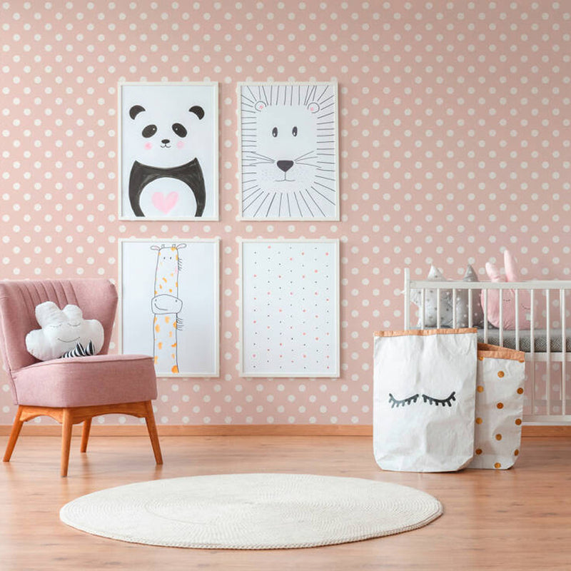 Textured Small Polka Dots/Spots Wallpaper Pink & Light Pink - Your 4 Walls