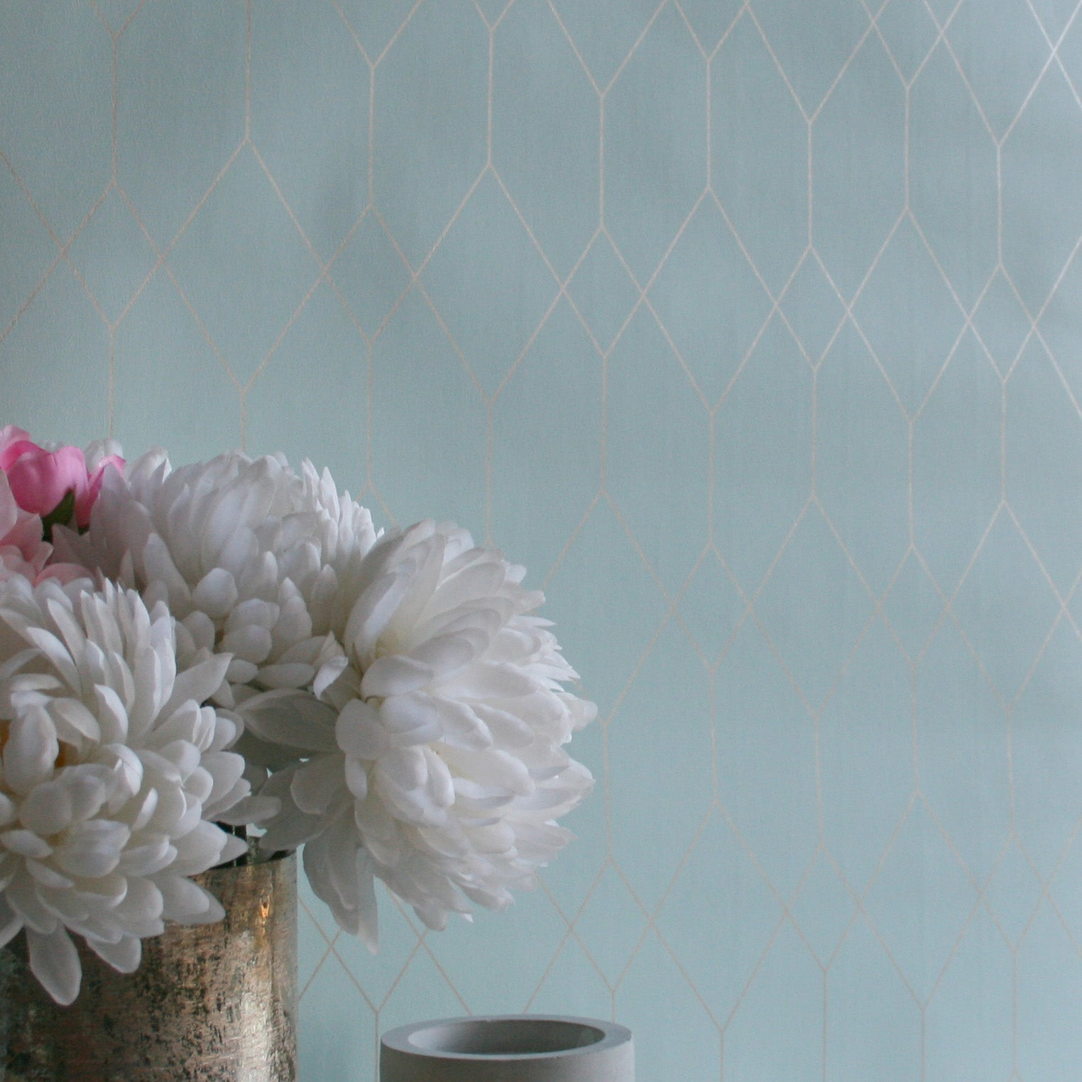 Polygon | Geometric Designer Wallpaper in Mint Green & Gold
