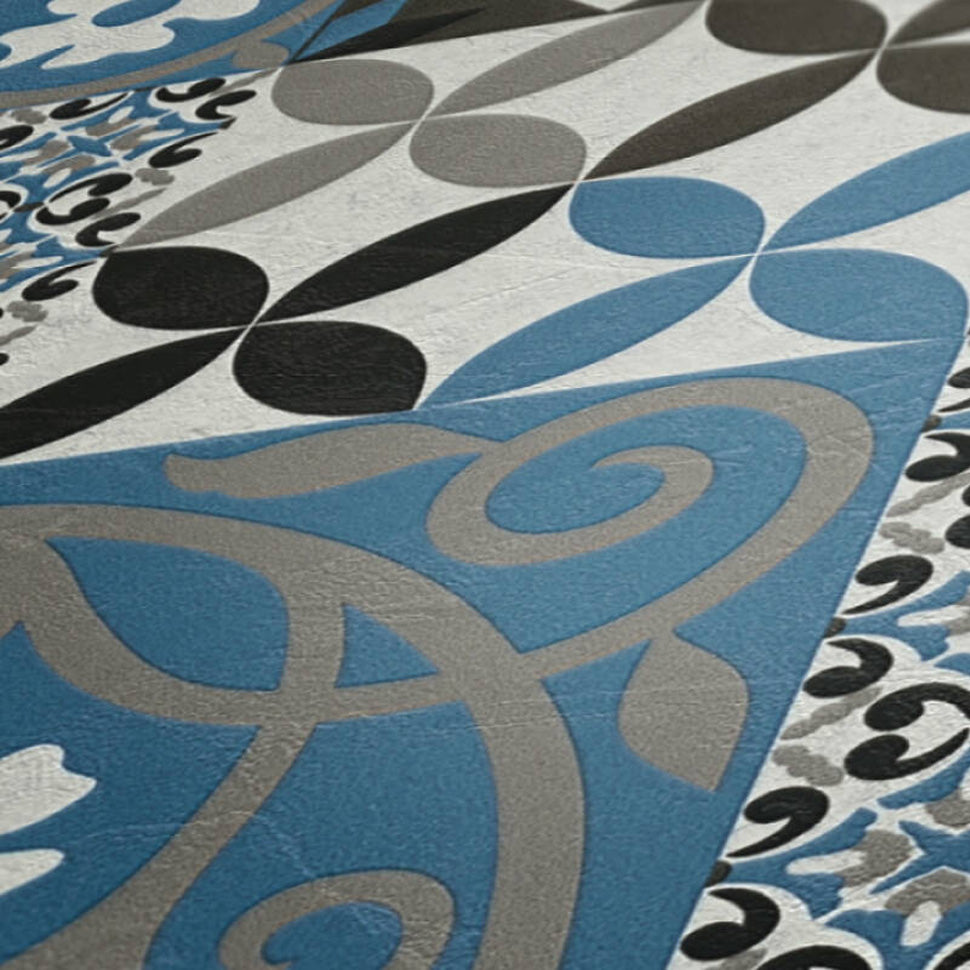 Moroccan/Portuguese Porto Style Tile Effect Wallpaper in Black, Blue & Grey - Your 4 Walls