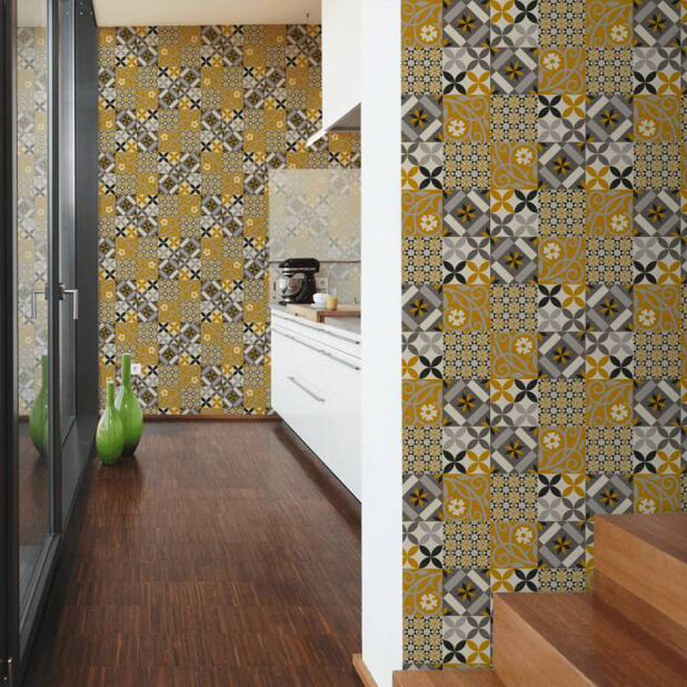 Moroccan/Portuguese Porto Style Tile Effect Wallpaper in Yellow & Grey - Your 4 Walls