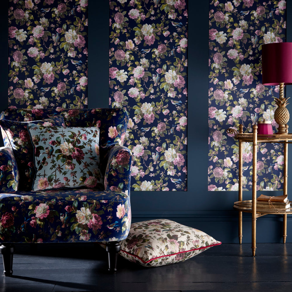 Renaissance Oasis Designer Floral Wallpaper | Dark Blue White & Pink - Your 4 Walls
