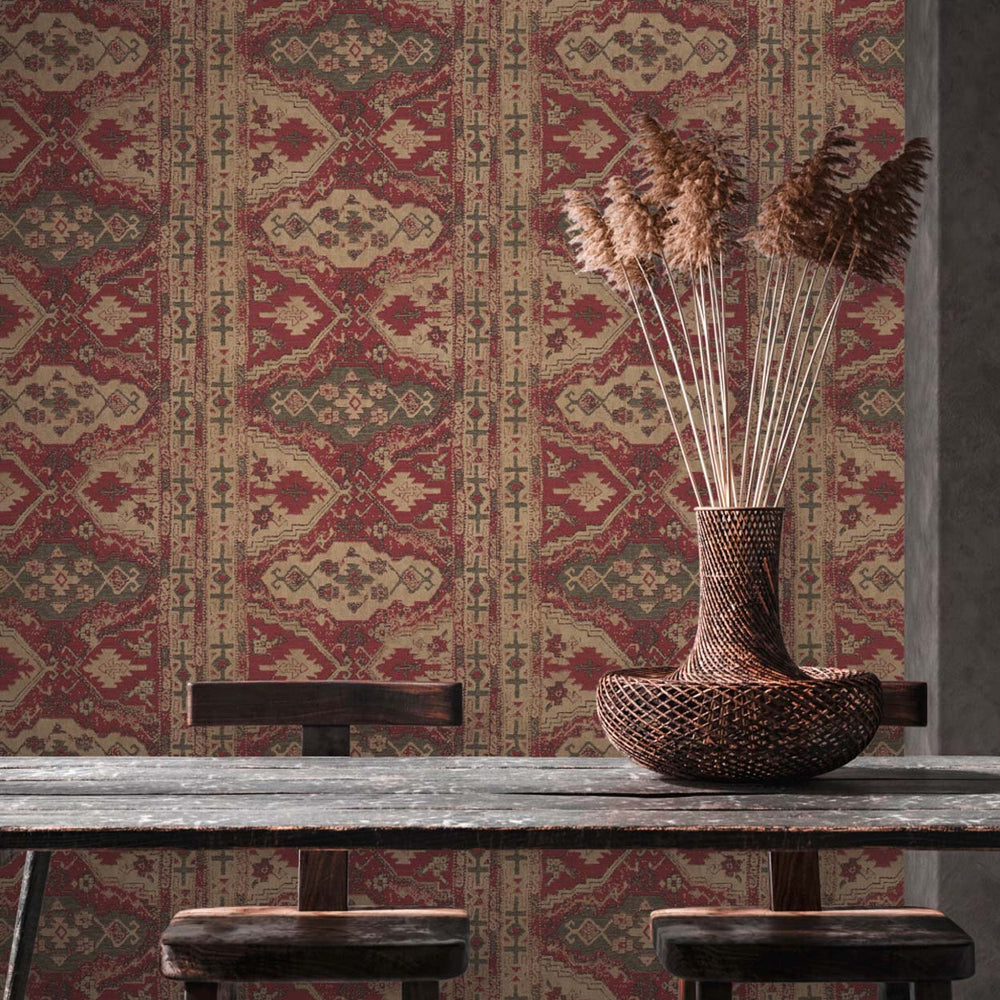 Moroccan Rug Effect Geometric Wallpaper in Deep Red, Beige & Brown - Your 4 Walls