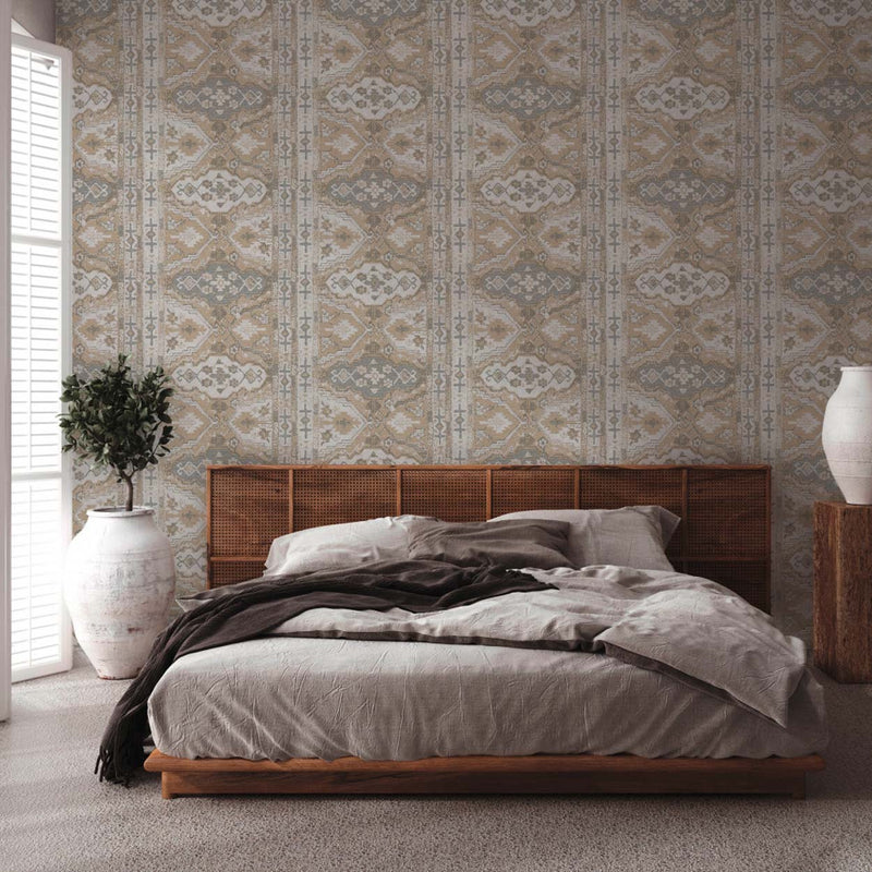 Moroccan Rug Effect Geometric Wallpaper in Grey, Beige & Off White - Your 4 Walls
