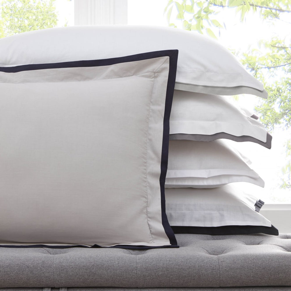 Karen Millen 'Signature' Designer Pillowcase Set in Grey & Midnight Blue