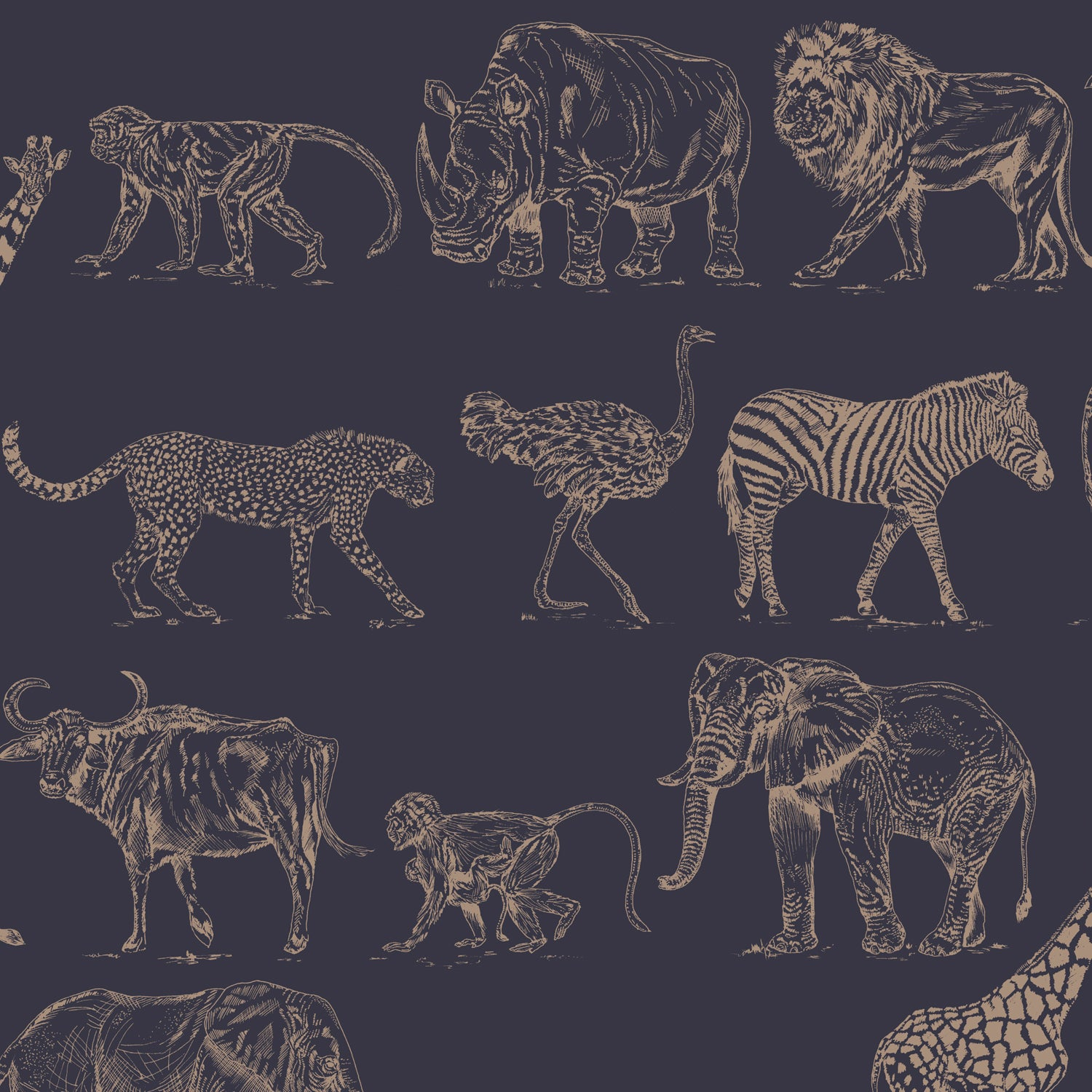 Safari Animal Motif Wallpaper | Matt Blue and Metallic Rose Gold