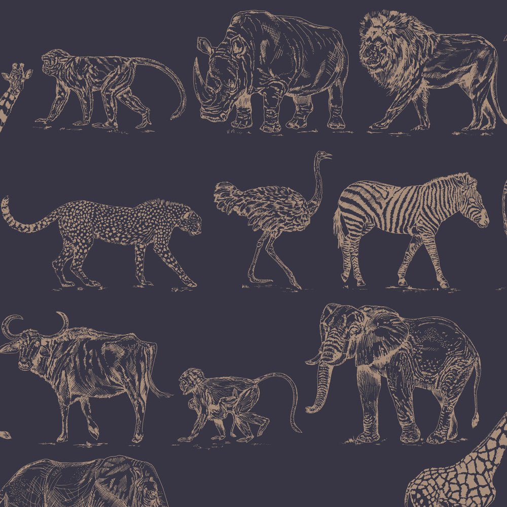 Safari Animal Motif Wallpaper | Matt Blue and Metallic Rose Gold - Your 4 Walls