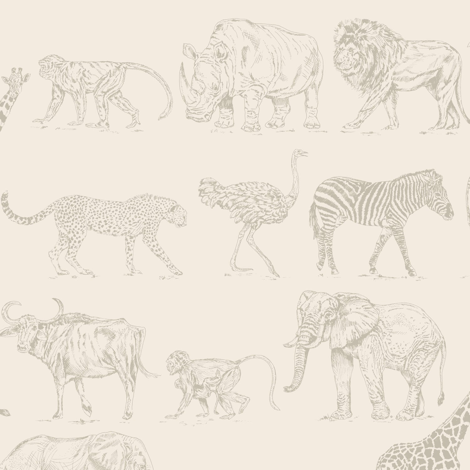 Safari Animal Motif Wallpaper | Cream and Metallic Rose Gold