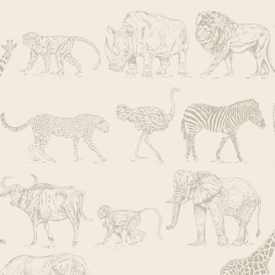 Safari Animal Motif Wallpaper | Cream and Metallic Rose Gold - Your 4 Walls