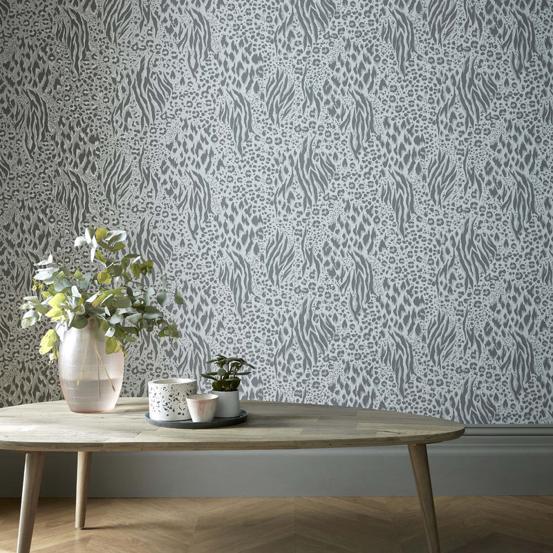 Savannah Animal Skin Accessorize Wallpaper | Grey, Silver & Dark Grey