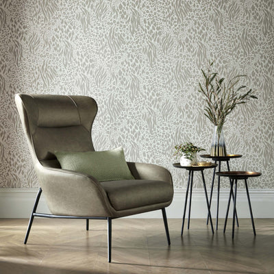Savannah Animal Skin Accessorize Wallpaper | Light Grey, Beige & Pearlescent