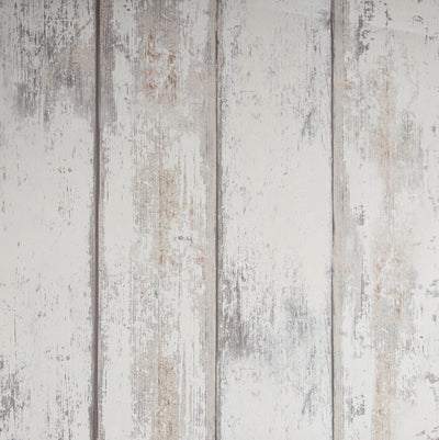 Reclaimed Wood Panel Effect Faux Wallpaper in Off White - Your 4 Walls